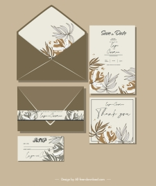 wedding card template leaves sketch handdrawn classic