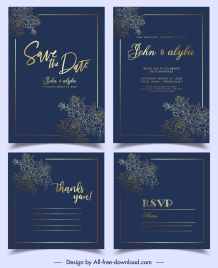wedding card template luxury elegant flowers dark golden