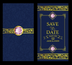 wedding card template luxury gems decor blue background