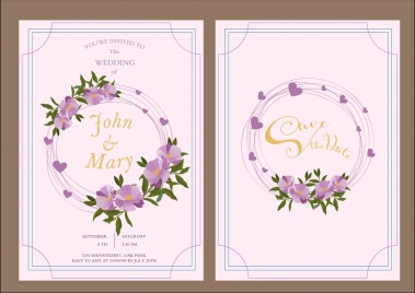 wedding card template flowers decoration classical vectors stock for