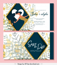 wedding card template romantic couple elegant flowers decor