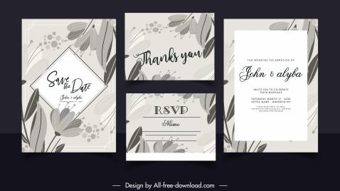 wedding card templates black white retro handdrawn botany