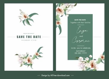 wedding card templates classic bright elegant floral decor