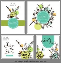 wedding card templates classical elegant botanical sketch