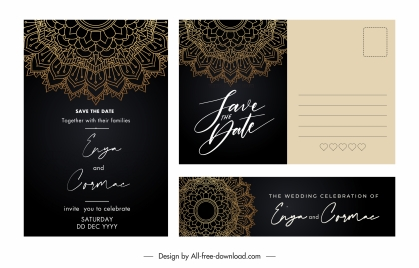 wedding card templates classical elegant dark decor