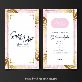 wedding card templates classical flat leaf decor
