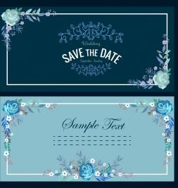wedding card templates dark classical flowers frame ornament