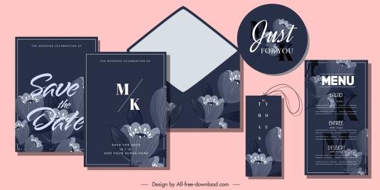 wedding card templates dark design elegant petals decor