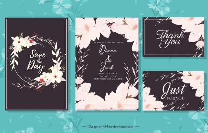 wedding card templates dark elegant floral decor