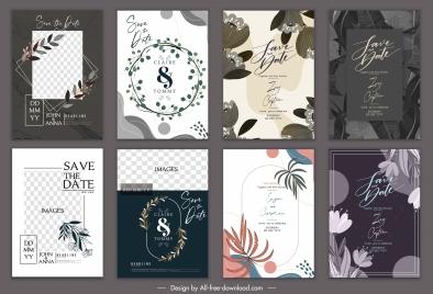 wedding card templates elegant classic dark white decor