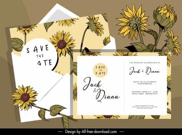wedding card templates elegant classic handdrawn botanical decor