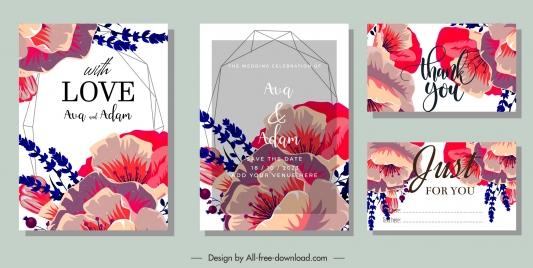 wedding card templates elegant classic petals decor