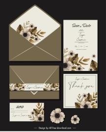 wedding card templates elegant classical botanical decor