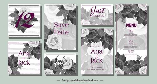 wedding card templates elegant classical grey roses decor