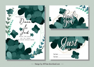 wedding card templates elegant classical leaves ornament