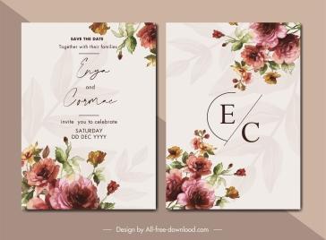 wedding card templates elegant colorful botanical decor