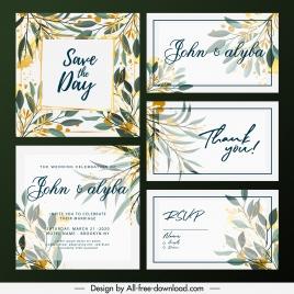 wedding card templates elegant colorful classic flora decor