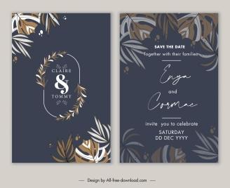 wedding card templates elegant dark design classic leaves