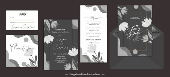 wedding card templates elegant dark floral decor