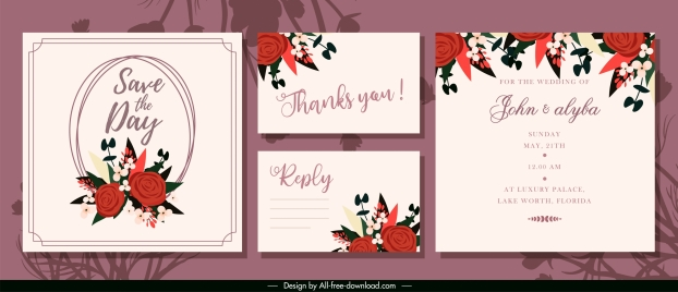 wedding card templates elegant floral decor classic design