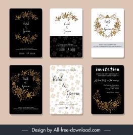 wedding card templates elegant floral wreaths decor
