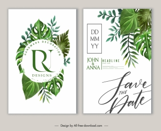 wedding card templates elegant leaves decor