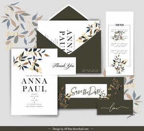 wedding card templates elegant leaves decor contrast design