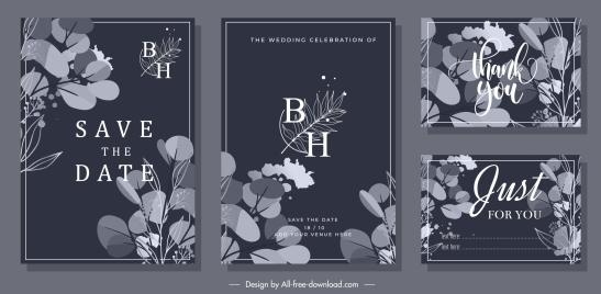 wedding card templates floral decor elegant dark design