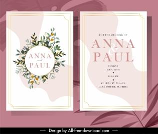 wedding cards template elegant design retro botanical decor