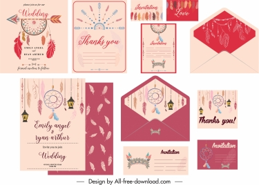 wedding cards templates colorful classic tribal elements decor