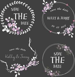 wedding decorative design elements classical flowers wreath decor