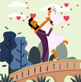 wedding drawing romantic happy couple colored cartoon design