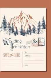 wedding envelop template mountain landscape icon classical design