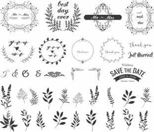 wedding frame design elements classical curved leaves icons
