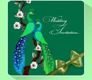wedding invitation card template green peafowl ribbon ornament