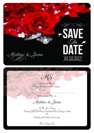 wedding invitation single card front and back print