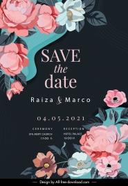 wedding poster template dark classic elegant botanical decor