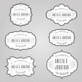wedding tags templates classical rounded decor