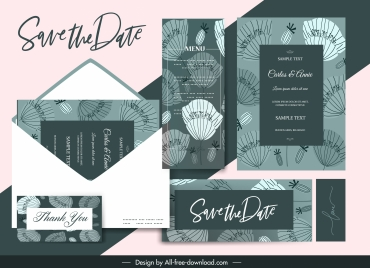 wedding templates dark decor classic handdrawn petals sketch