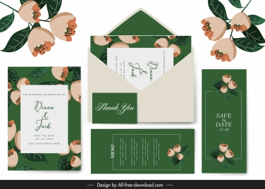 wedding templates elegant classical petals green decor