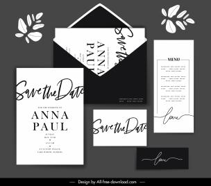 wedding templates elegant plain black white calligraphic decor