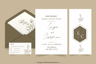weeding card templates elegant plain classic flora decor
