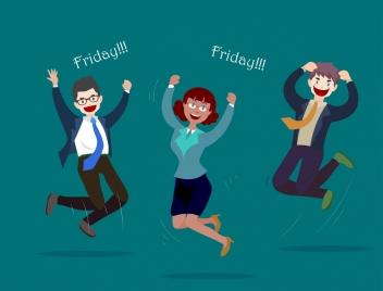 weekends background joyful staffs icons cartoon characters