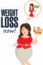 weight loss advertisement woman food thought bauble icons