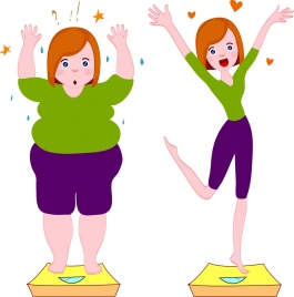 weight loss advertising fat slim woman icons