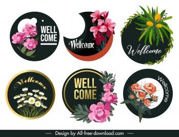 welcome banners elegant floral decor circle isolation