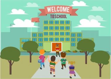 welcome to school banner joyful kids design