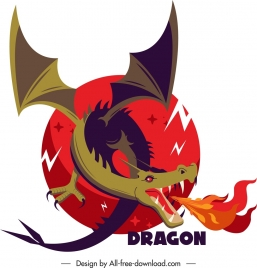 western dragon icon fire decor cartoon sketch
