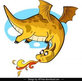 western dragon icon firing flying sketch cartoon design