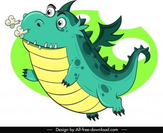 western dragon icon flying sketch cute cartoon character